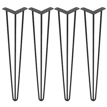 Homgrace Heavy Duty Hairpin Table Legs Black Steel 3 Rods Hairpin