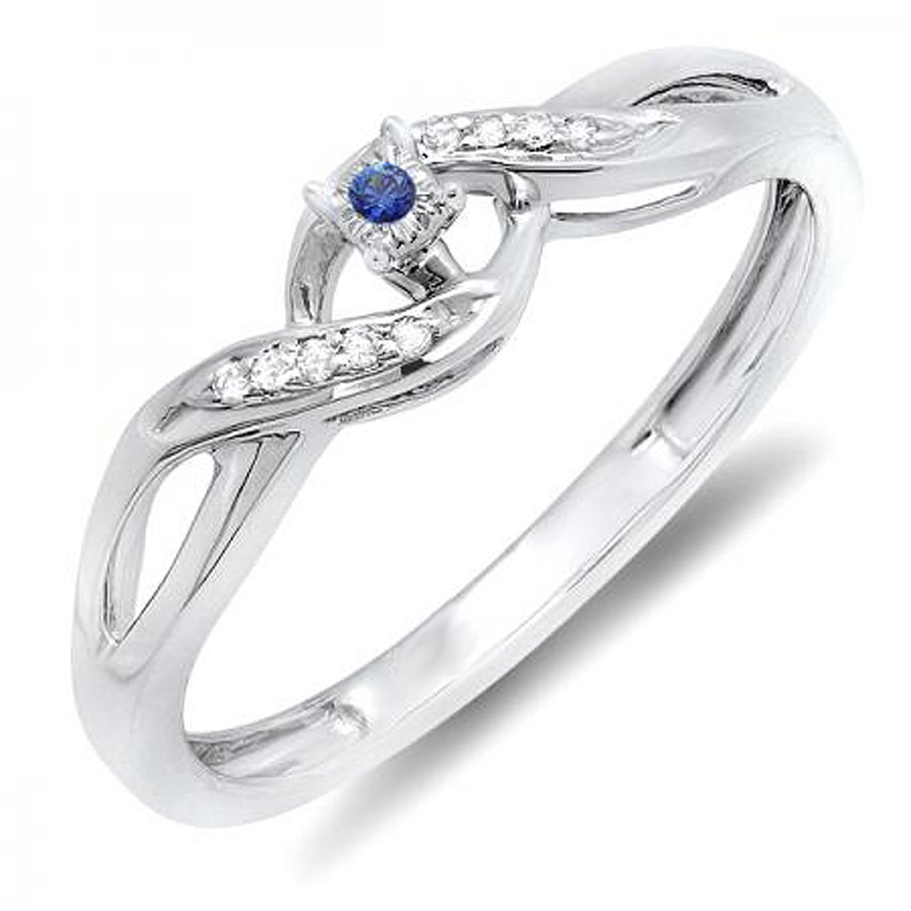 Dazzlingrock Collection Round Blue Sapphire /& White Diamond Crossover Swirl Bridal Promise Engagement Ring Sterling Silver