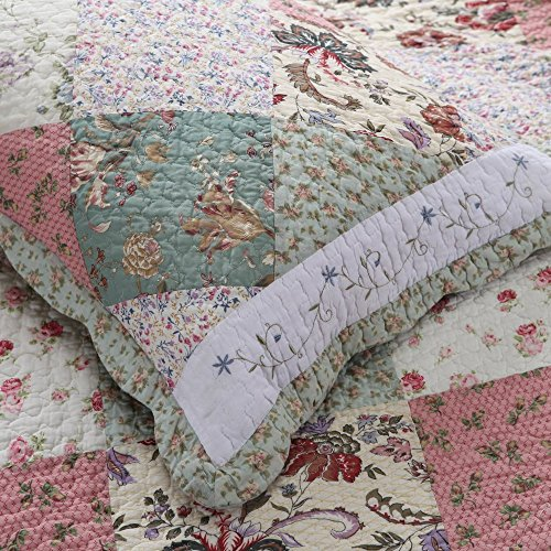 Shams Quilt Floral 2 (Cozy Line Home Fashions Celia Floral Patchwork COTTON Quilted King Shams(Celia Sham, King Sham(set of 2)))