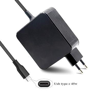 DTK 45W USB-C Tipo C Cargador para Nuevo Macbook Pro HP Acer ASUS Lenovo DELL Huawei Matebook Ordenador portátil Smartphone Alimentación Adaptador: ...
