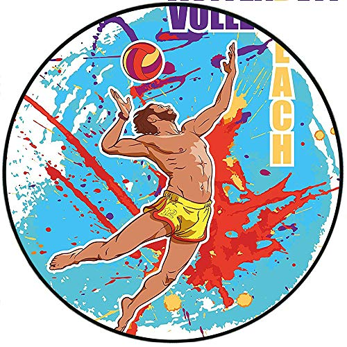 Short Plush Round Rug Beach Vector Illustration of a Man Serving an Overhead Ball in Beach Volley Sky Blue and Red Living Room Coffee Table 78.4