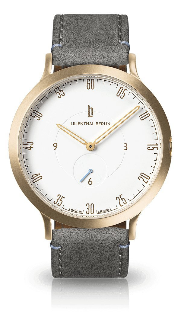 Lilienthal Berlin -Made in Germany- ベルリンの新しい時計モデル L1 ステンレススチール ケース B071F42LRH Size: 42.5 mm|Case: gold / Dial: white / Strap: grey Case: gold / Dial: white / Strap: grey Size: 42.5 mm