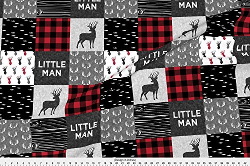Woodland Fabric Little Man - Red And Black (Buck) Quilt Woodland by Littlearrowdesign Printed on Cotton Poplin Ultra Fabric by the Yard by (Little Quilts Fabric)