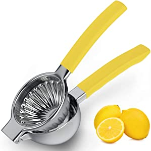 JKZJ Durable 304 Stainless Steel Lemon Squeezer, 13 Holes Citrus Juicer with Silicone Handle, Jumbo Lemon Juicer For Fruits of More Sizes (YELLOW)