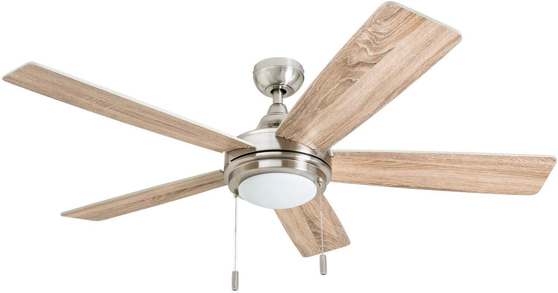 Honeywell 50606-01 Ventnor Farmhouse Ceiling Fan, 52 Rustic Barnwood Decor, ETL Indoor, Brushed Nickel