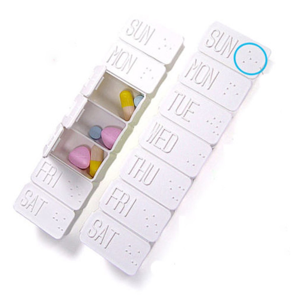 Funnytoday365 7 Days Pill Box Holder Weekly Medicine Storage Organizer Container Case