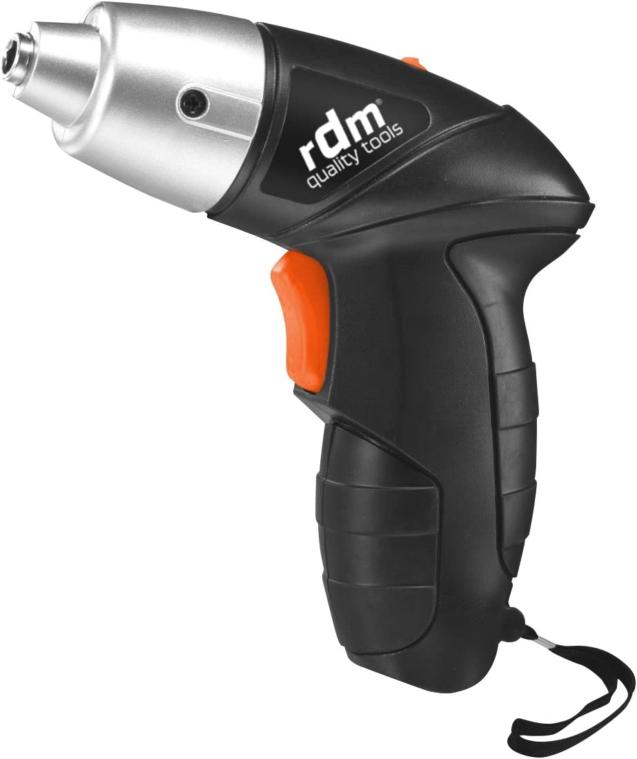 Atornillador eléctrico a batería RDM Quality Tools 70006, 3,6W, 11 puntas, porta puntas magnético, giro reversible. Color negro y naranja.