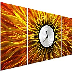 "Pure Art Psychedelic Clock Metal Art - Modern Decor for Living Rooms and Kitchens - Orange Abstract Outdoor Decorations in 24"" x 49"""