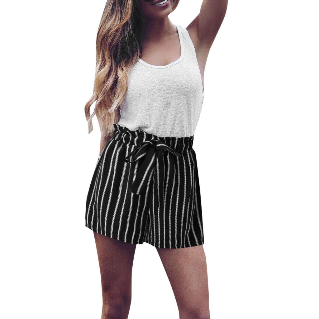 Women's Loose Hot Pants,Ladies Summer Casual High Waist Striped Bow Tied Short Trousers Shorts