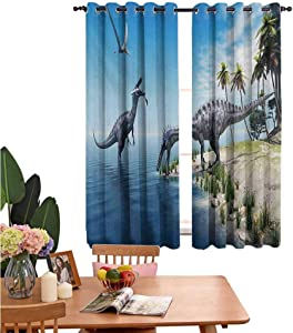 "Mozenou Jurassic Simple Curtains Large Fish is Caught by a Suchomimus Dinosaur Flying Pterosaur Dinosaur Ideal for Living Rooms and bedrooms 52""x63"" Blue Beige Green Grey"