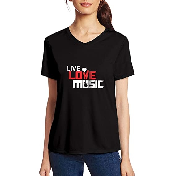 a0be543a Pooplu Womens Live Love Music Cotton Printed V Neck Half Sleeves Black &  White t-Shirt. Gym, Music, Exercise, Symbol Tshirts: Amazon.in: Clothing &  ...