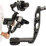 AgimbalGear DH-03 Aluminium L Type Microphone Stand Bracket Handle Grip Transmount Compatible for DJI Ronin S Moza Air 2 Feiyu AK2000 Zhiyun Weebill Stabilizer