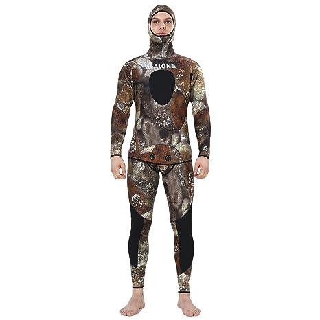 Realon Spearfishing Neopreno 3 mm Hombres Traje de Buceo Snorkeling Kayak Suit, Hombre, Camuflaje