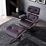 RECLINER GENIUS Lounge Chair with Ottoman ,100% Grain Italian Leather,Brown