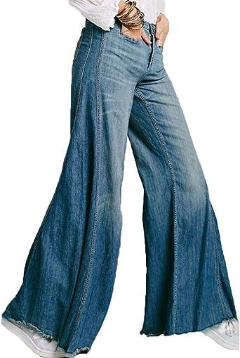 Zhiyuanan Mujer Pantalon Vaquero Campana O Vaqueros Anchos Elastico Mezclilla Pantalones Comodo Casual Denim Jeans Amazon Es Ropa Y Accesorios