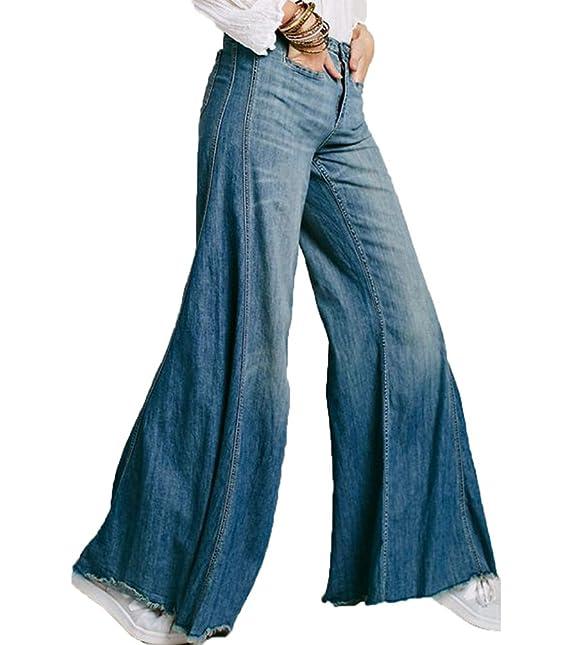 99b5a7ad4c Zhiyuanan Donna Jean Pantaloni A Zampa di Elefante O Jeans Palazzo Larghi  Elasticizzati Comodo Denim Pantaloni Gamba Larga Casual Baggy Jeans