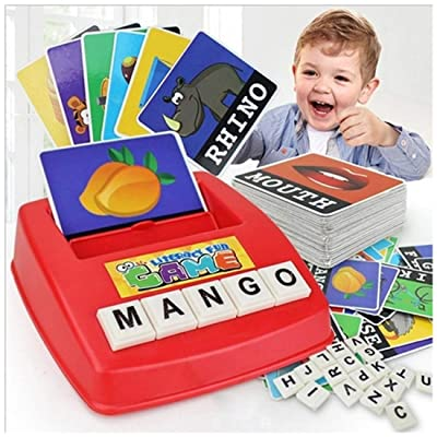 Shangjie Town English Word Learning Machine Puzzle Toy Letters Machine Card Spelling Game Educational Toys for Kids Literacy Game Cards: Toys & Games