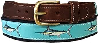 Men's Preston Leather Ribbon Ocean Blue Marlin Fish Belt