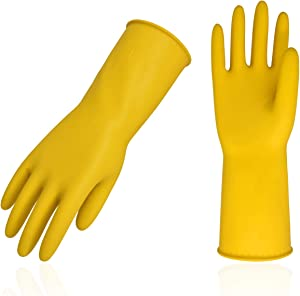 Vgo 10Pairs Reusable Household Cleaning Dishwashing Kitchen Glove, Long Sleeve Thick Latex Working, Painting, Gardening Gloves,Pet Care(Size M,Yellow,HH4601)