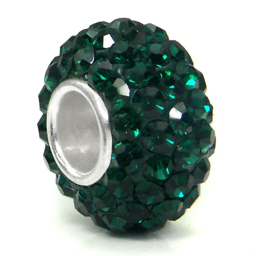Metal Factory (1 Pc) Dark Green Crystal Ball Bead Sterling Silver Charm
