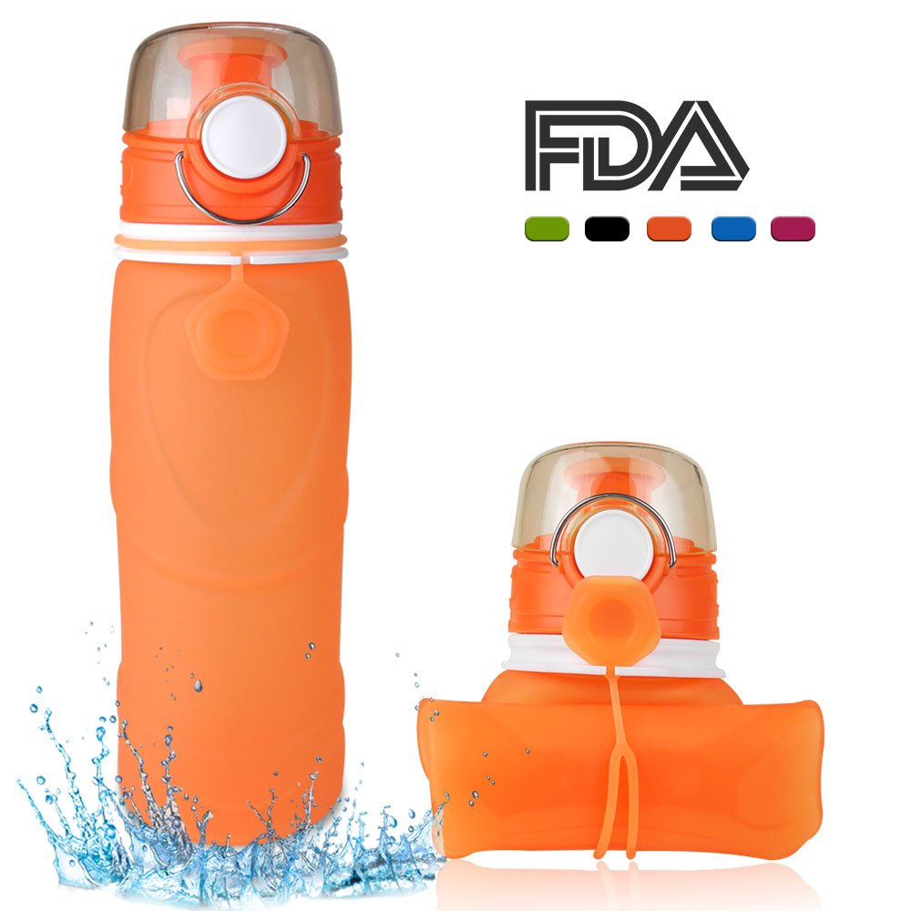 MyFriday Collapsible Water Bottle, Orange