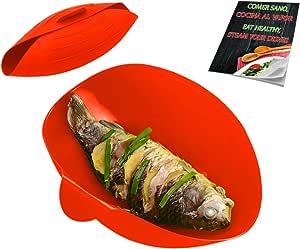 Estuche Vapor microondas Silicona vaporera Papillote Bandeja panera recipientes Bowl para cocinar al Vapor microondas Cocina Lavado lavavajillas Naranja: Amazon.es: Hogar