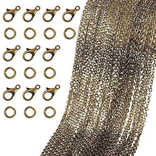 TecUnite 40 Feet Bronze Plated Round Cable Link Chain Necklace with 30 Lobster Clasps and 30 Jump Rings for Necklace Jewelry Accessory