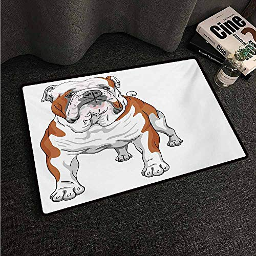 HCCJLCKS Interesting Doormat English Bulldog Muscular Dog with Sketch Style Illustration of Canine Pure Breed Animal Easy to Clean Carpet W16 xL24 Brown White