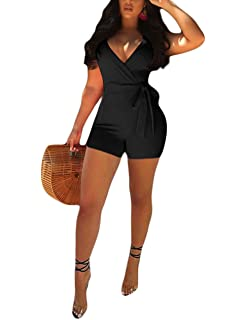 45716df722f Akmipoem Women s Spaghetti Strap Romper Wrap Front V Neck Solid Shorts  Jumpsuit with Belt