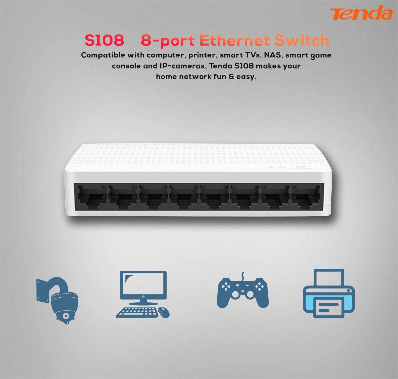 Switch de Red con 8 Puertos Color Blanco 10//100 Mbps Tenda S108
