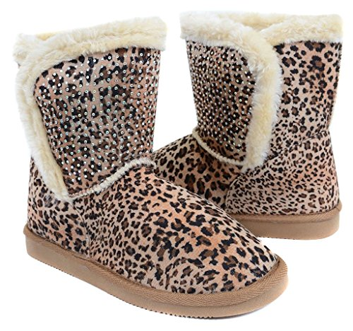 [Bolaro Fur Rhinestone Faux Shearling Leopard Round Toe Ankle Womens Boot - 9] (Furry Boots Cheap)