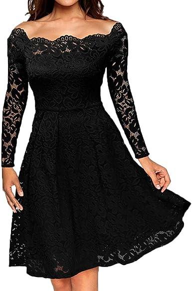 OverDose Vestidos Mujer Fiesta Elegante Sin Hombro Vestido De Boda del Partido De Tarde: Amazon.es: Ropa y accesorios