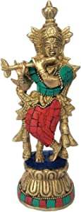 Brass Metal God Lord Krishna Idol Statue Murti Multicolor with Flute Religious Home Décor Living Pooja Room Tmeple Mandir Gift Item - Height 7 Inch