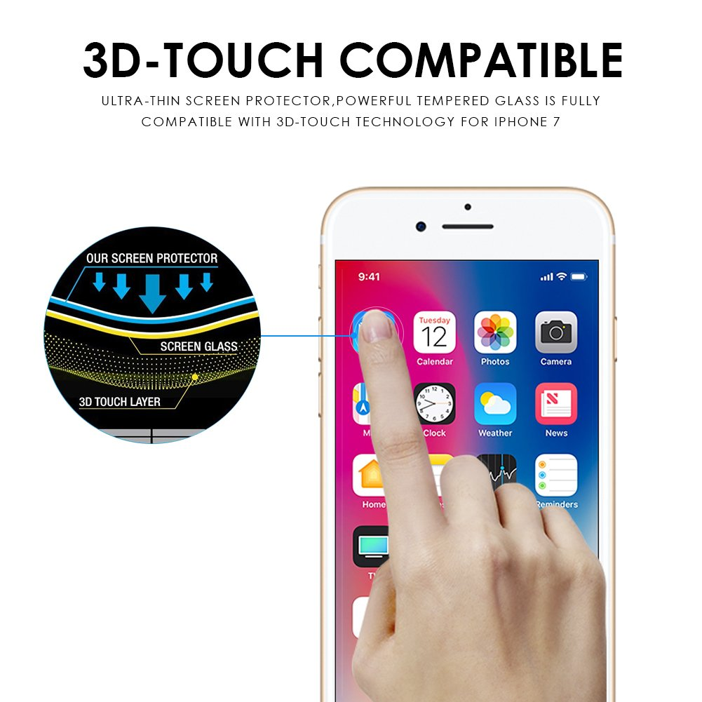 Tembin 3D Nanometer Tempered Glass Film for iPhone 7 Plus,Curved Surface Full Cover Screen Protector Smart Color Changing Screen Guard White - 2 Pack