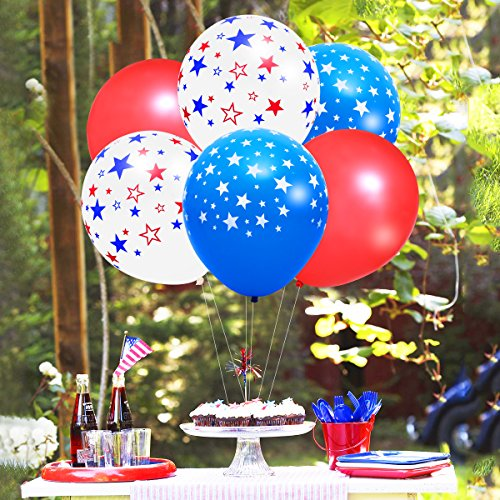 LUOEM 4th Of July Balloons Patriotic Party Decorations Star Print Latex Independence Day And Veterans