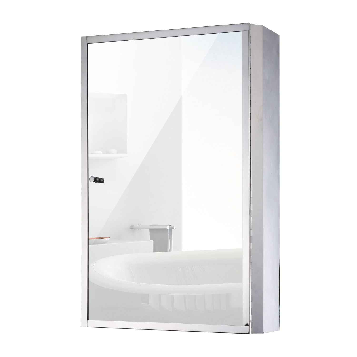 HOMCOM Vertical 24 Stainless Steel Bathroom Wall Mirror Medicine Cabinet