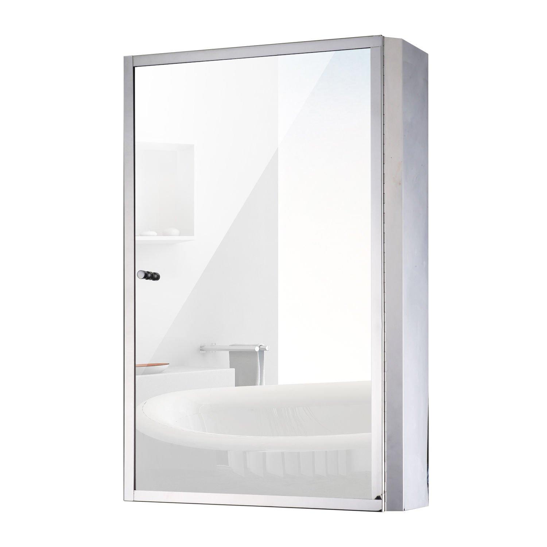 """HOMCOM Vertical 24"""" Stainless Steel Floating Bathroom Wall Mirror Single Door Medicine Cabinet by HOMCOM"""