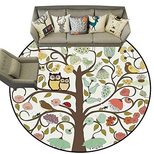 Area Rugs Round Circular Carpet Thick,Animals,Retro Style Tree with Flowers Bugs and Bees Owl Birds Insects Vintage,Almond Green Eggshell,Machine Washable Round Area Rug Non-Slip Mats3 feet