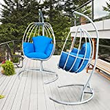 ART TO REAL Egg Shaped Hanging Swing Chair with C Stand, Outdoor Patio Porch Hanging Swing With Cushions, Egg-shaped Hammock Swing Chair Single Seat (Navy Blue)
