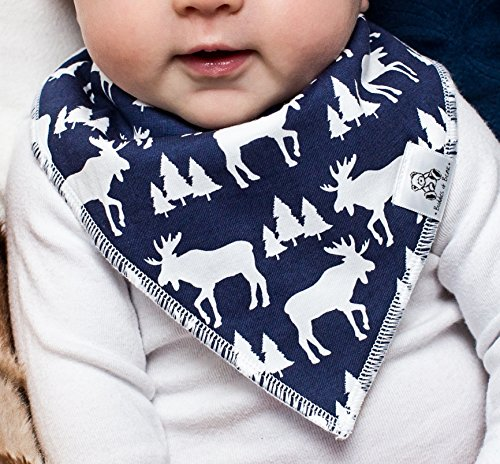 Baby Bandana Drool Bib 4 Piece Set, Best for Teething and Drooling, Absorbent and Soft, ''The Logan Pack'' for Boys and Girls by Buddies + Bear, 100% Organic Cotton + Polyester Fleece, Registry Gift by Buddies + Bear (Image #4)