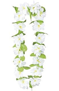 Unique party 19171 40 fabric white hawaiian garland lei amazon boland bv boland 52212 one size hawaiian jasmine lei fancy dress accessory green white mightylinksfo