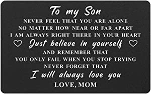 To My Son Gifts Wallet Card from Mom, Engraved Metal Wallet Insert for Son, Never Forget I Love You, College Graduation, Gifts for Deployed Son, Birthday Christmas Valentines Father's Day Presents