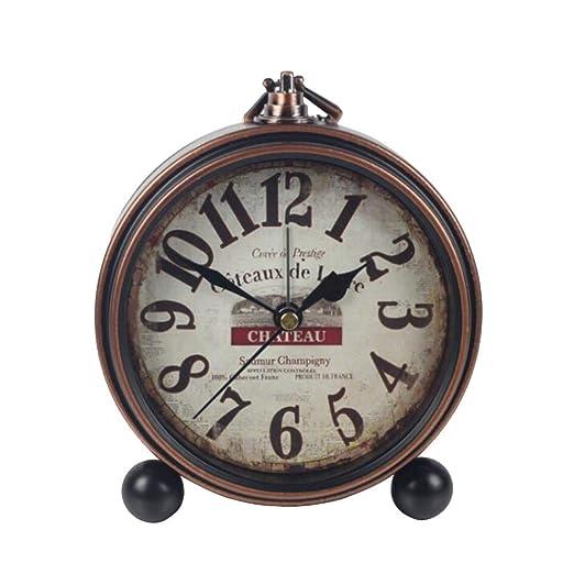 ZTMN Reloj Vintage, Hierro Forjado, Mesa, Borde de Bronce ...