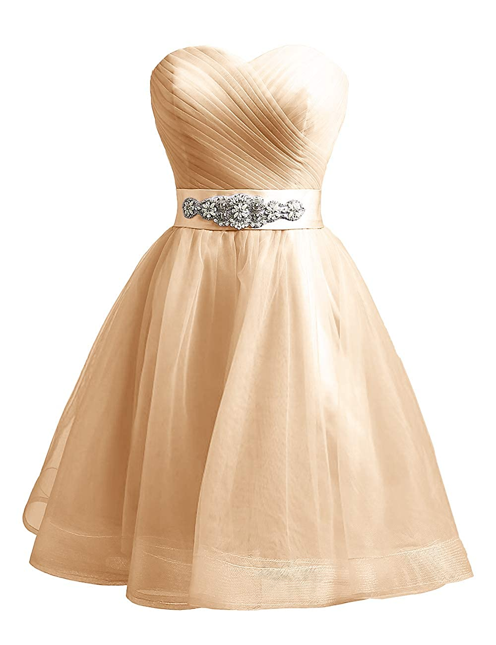 Champagne Uther Sweetheart Beaded ALine Homecoming Dress Short Cocktail Dress Tulle Porm Gown