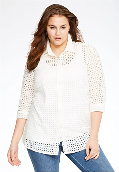 2a8eb22614 Bargain Catalog Outlet Woman Within Plus Size Perfect Big Shirt 3 4 -Sleeve  (