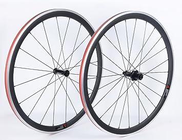 YouCan bicicleta 38 mm juego de ruedas para bicicleta de carretera 700 C clincher DT Swiss de aleación de carbono Hub Sapim radios, 25mm: Amazon.es: ...