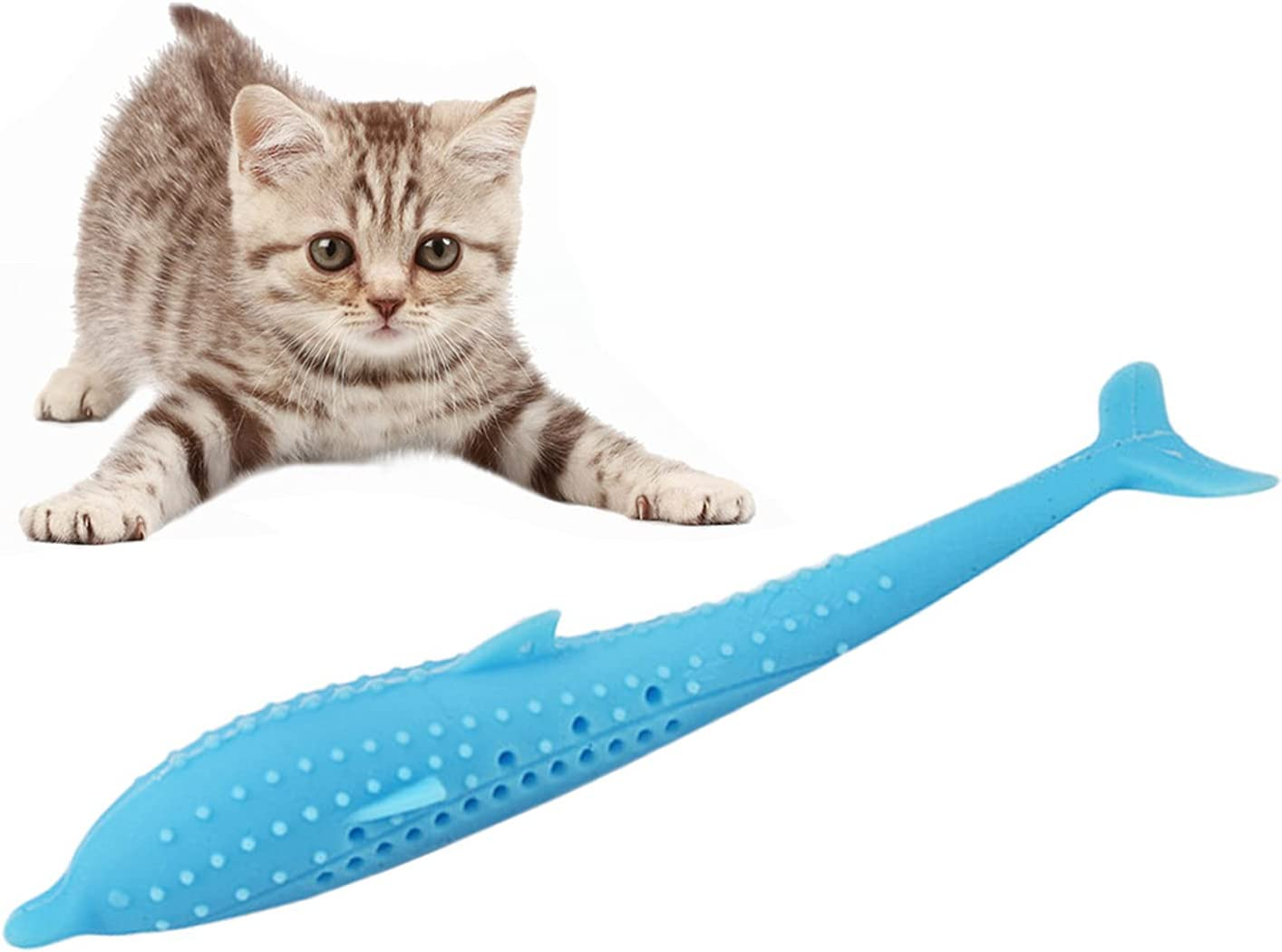 Pet Cat Fish Shape Toothbrush with Catnip Toys,New Interactive Tooth Cleaning Toy for Kitten Kitty,Multi-Function Food Grade Silicone Cat Molar Stick,Get Rid of Bad Breath & Keep Teeth Healthy