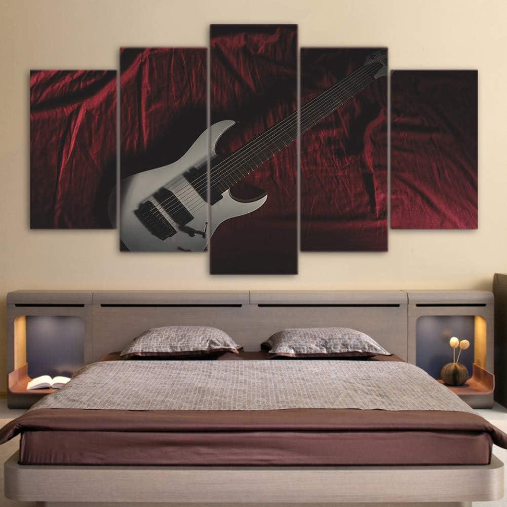 Eotifys Impresiones sobre Lienzo Pinturas en Lienzo Decoración Arte en el hogar Cuadro en Lienzo 5 Piezas Instrumentos Musicales Guitarra