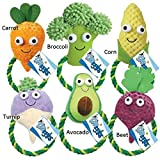 Cheap Dog Rope Toys Happy Veggies 9″ Carrot Corn Turnip Avocado Broccoli Beet or all 6(Set of All 6 Toys)