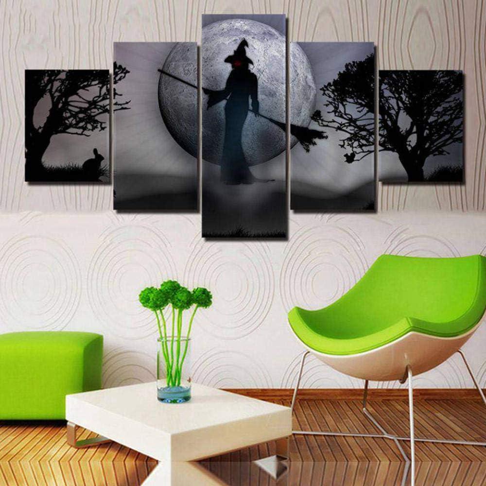 Cgukrtv 5 Partes Cuadro En Lienzo Grande Cuadros Hogar Para Dormitorios Modernos Impresión Habitación Decoración Adolescente Mural Pared Bruja Extraña Conejo Luna B